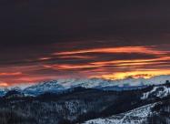 Sunrise lights over Stara Planina mountain