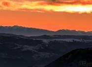 Sunset behind Rila mountain