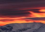Sunrise lights over Botev peak