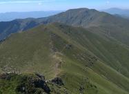Нагоре към Купена. Поглед назад. Зад връх Амбарица вдясно в далечината се вижда и връх Вежен