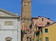 Leaning tower of Venice. Santo Stefano ( built 1544) with a height of 66m. Its inclination is similar to that of the Tower of Pisa, about 2 meters.