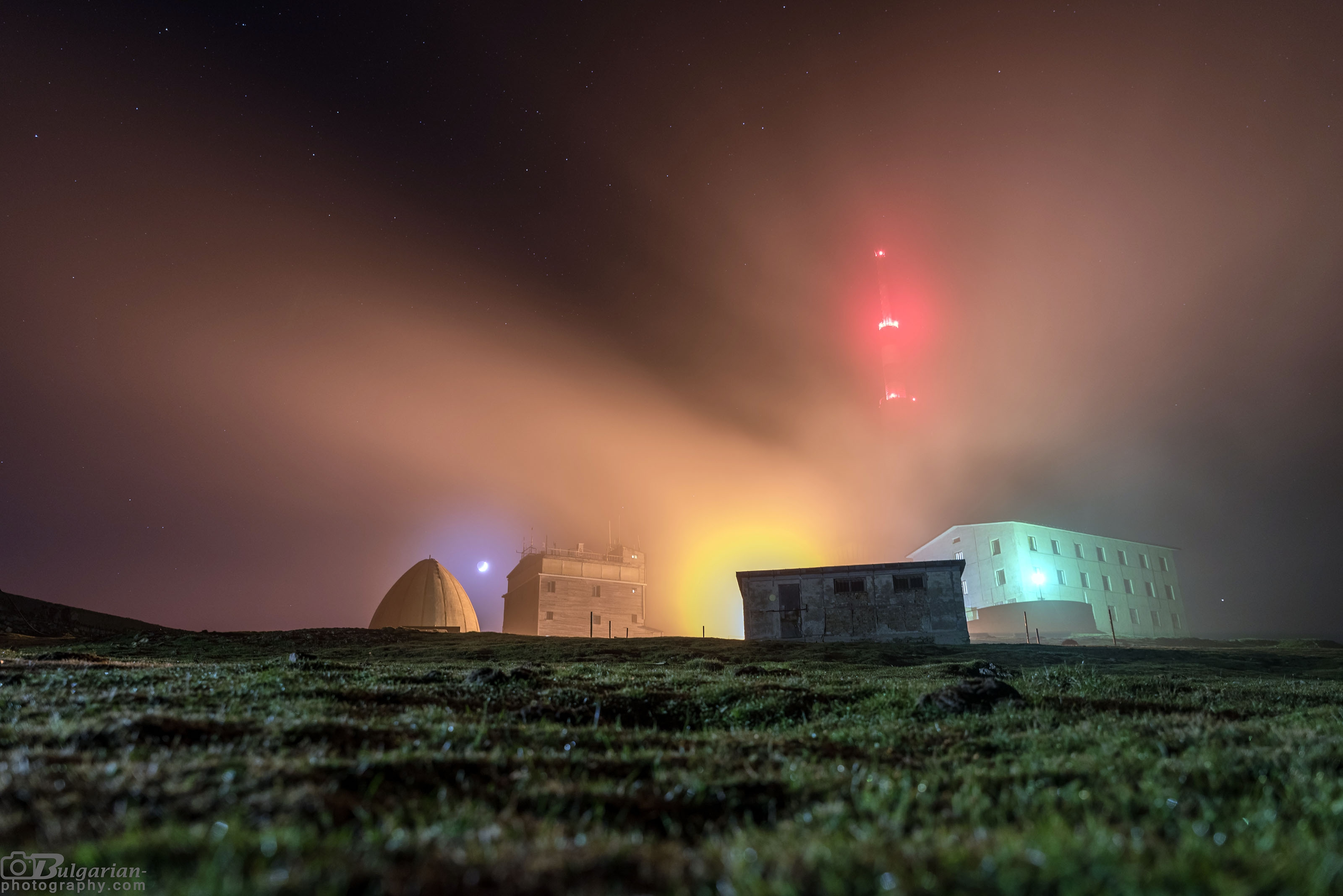 Misty night at Botev peak