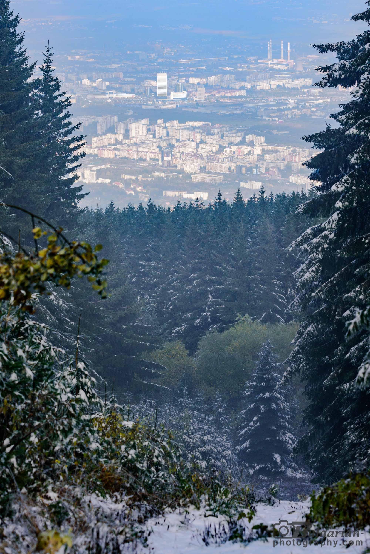 На слизане от Черни връх. Поглед към София.
