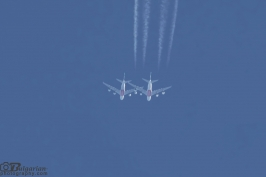 Two Emirates A380s overtakes over Bulgaria