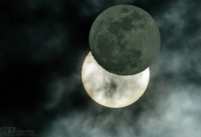 Assembly photo, which shows how the moon hides the solar disk at partial eclipse.